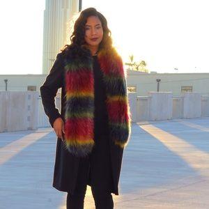 Multi colored fur shawl/scarf